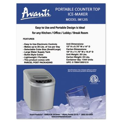 Avanti Portable/Countertop Ice Maker,... OfficeSupply.com