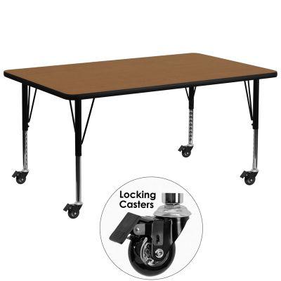 FHFXUA3072RECOAKTPCASGG - Flash Furniture Oak preschool activity table