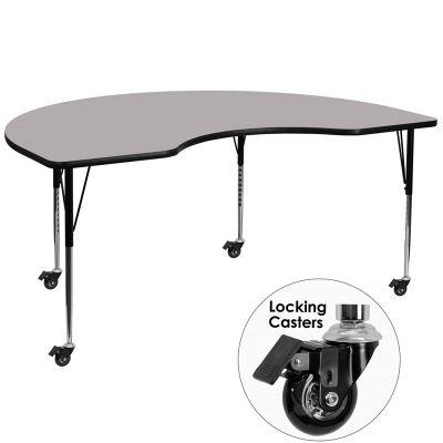 FHFXUA4896KIDNYGYTACASGG - Flash Furniture Gray kidney activity table