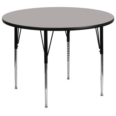 FHFXUA48RNDGYHAGG - Flash Furniture 48'' Round Activity Table with 1.25'' Thick High Pressure Grey Laminate Top and Standard Height Adjustable Legs (XU-A48-RND-GY-H-A-GG)