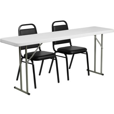 FHFRB18722GG - Flash Furniture Black; White folding table set