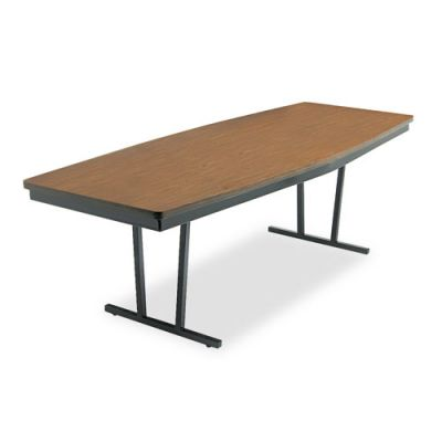 BRKECT368WA - Barricks Economy ''Press-O-Matic'' Conference Folding Table; Boat; 96w x 36d x 30h; Walnut