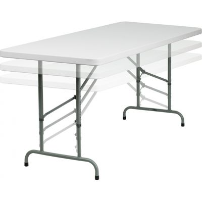 FHFRB3072ADJGG - Flash Furniture White Plastic folding table