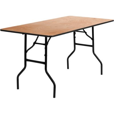 FHFYTWTFT30X60TBLGG - Flash Furniture Natural Wood folding table