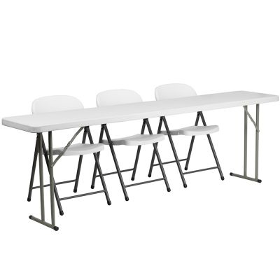 FHFRB18962GG - Flash Furniture White folding table set