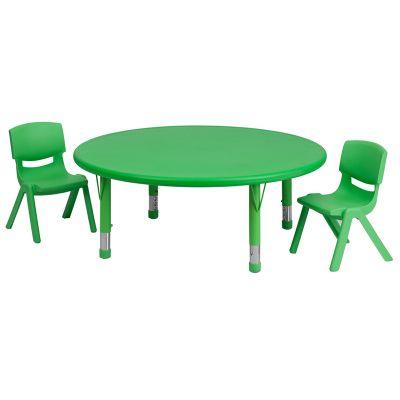 FHFYUYCX00532ROUNDTBLGREENRGG - Flash Furniture preschool activity table set