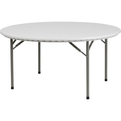 FHFRB60RGG - Flash Furniture 60'' Round Granite White Plastic Folding Table (RB-60R-GG)