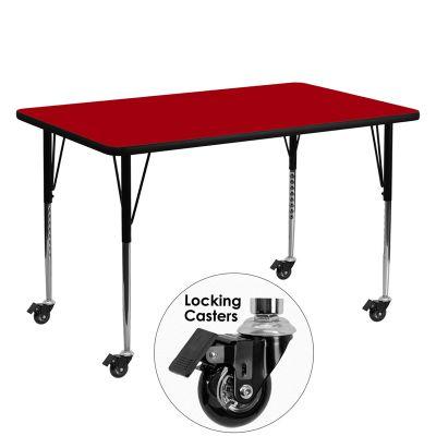 FHFXUA3060RECREDTACASGG - Flash Furniture 30 x 60 activity table