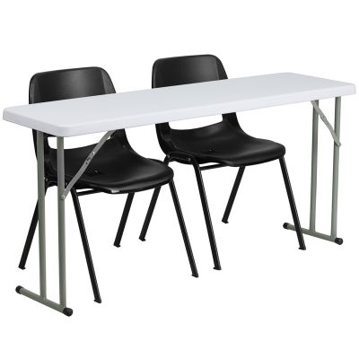 FHFRB18602GG - Flash Furniture Black; White folding table set