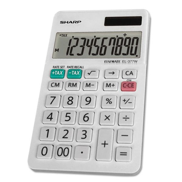 Sharp EL-377WB Large Pocket Calculator, 10-Digit LCD