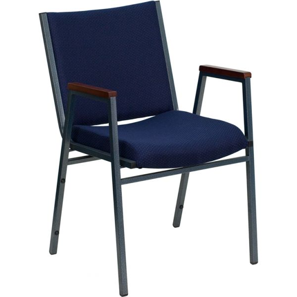 Flash Furniture HERCULES Series Heavy Duty, 3'' Thickly Padded, Navy Patterned Upholstered Stack Chair with Arms and Ganging Bracket