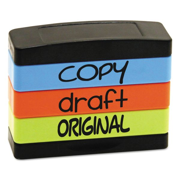 Stack Stamp Stack Stamp, COPY, DRAFT, ORIGINAL, 1 13/16 x 5/8, Assorted Fluorescent Ink