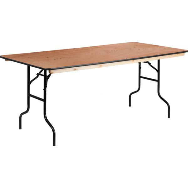 Flash Furniture 36'' x 72'' Rectangular Wood Folding Banquet Table with Clear Coated Finished Top