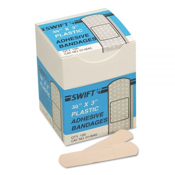 "Swift Adhesive Bandages, 3/4"" x 3"", Plastic"