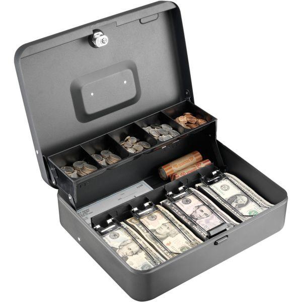 SteelMaster Tiered Cash Box w/Bill Weights, Cam Key Lock, Charcoal