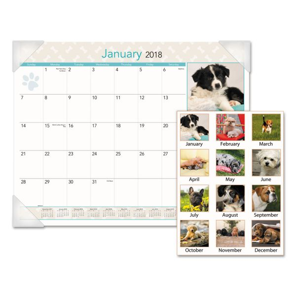 Visual Organizer Puppies Photographic Monthly Desk Pad Calendar