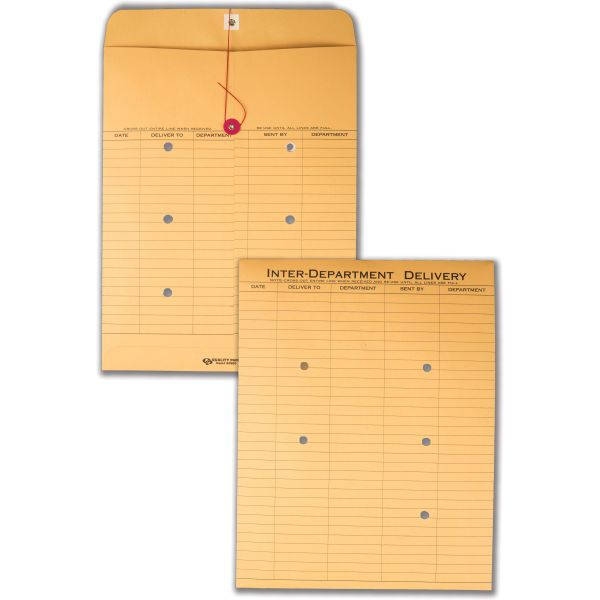 Quality Park Brown Recycled Kraft String & Button Interoffice Envelope, 10 x 13, 100/Carton