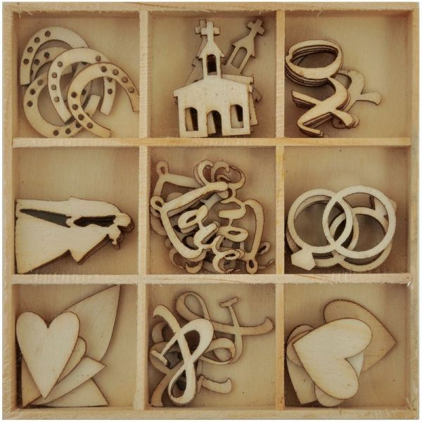Always & Forever Wooden Shapes 45/Pkg