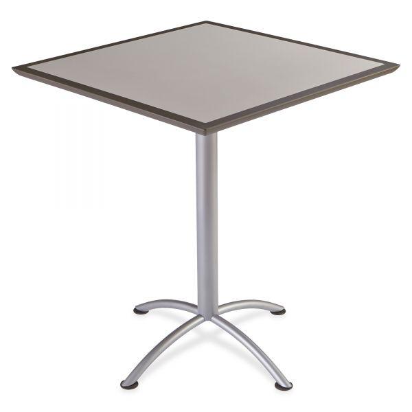 Iceberg iLand Table, Dura Edge, Square Bistro Style, 36w x 36d x 42h, Gray/Silver