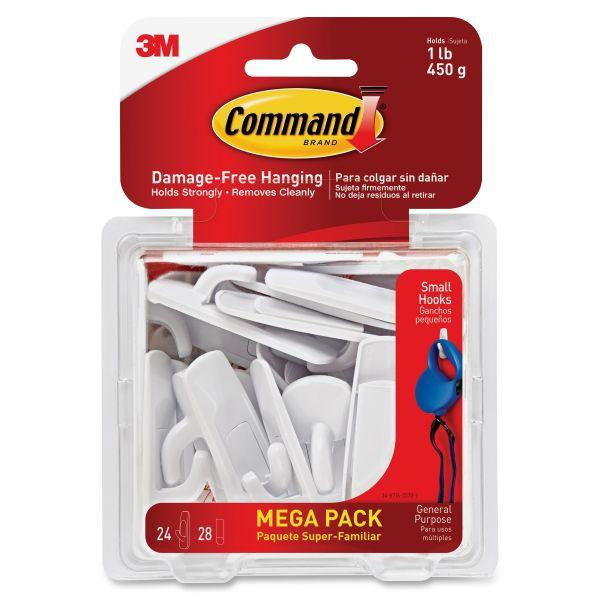 Command General Purpose Hooks, 1lb Capacity, Plastic, White, 24 Hooks, 28 Strips/Pack