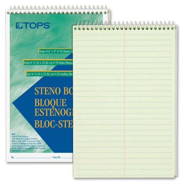 TOPS Green Tint Steno Books