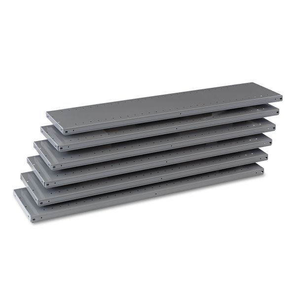 "Tennsco Industrial Steel Shelving for 87"" High Posts, 48w x 12d, Medium Gray, 6/Carton"