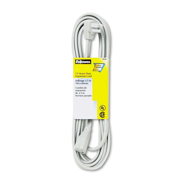 Fellowes Indoor Heavy-Duty Extension Cord, 3-Prong Plug, 1-Outlet, 15ft Length, Gray