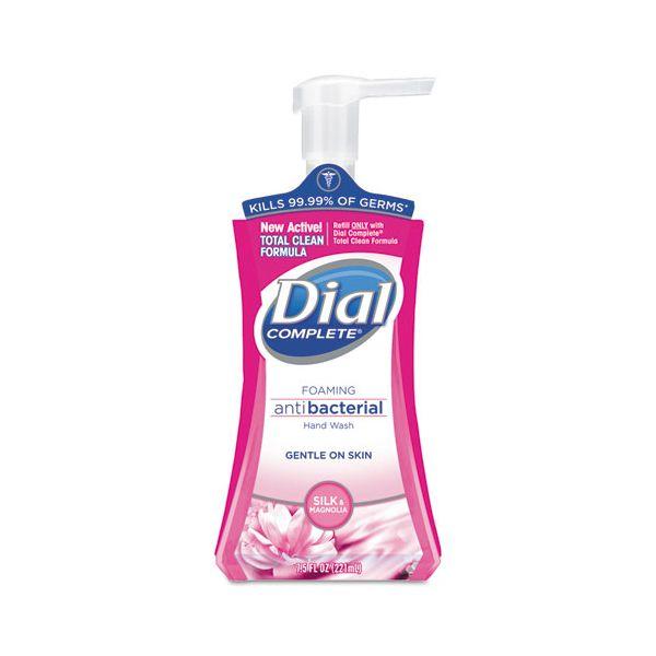 Dial Antibacterial Foaming Hand Wash, Silk & Magnolia, 7.5 oz Pump Bottle, 8/Ctn