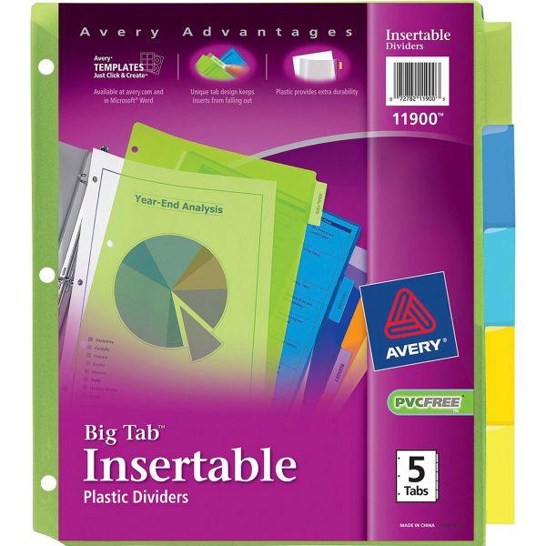 Avery Insertable Big Tab Plastic Dividers, 5-Tab, Multi-color Tab, Letter, 1 Set