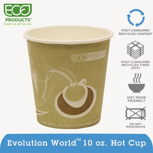 Eco-Products Evolution World 24% Recycled Content Hot Cups Convenience Pack - 10oz., 50/PK