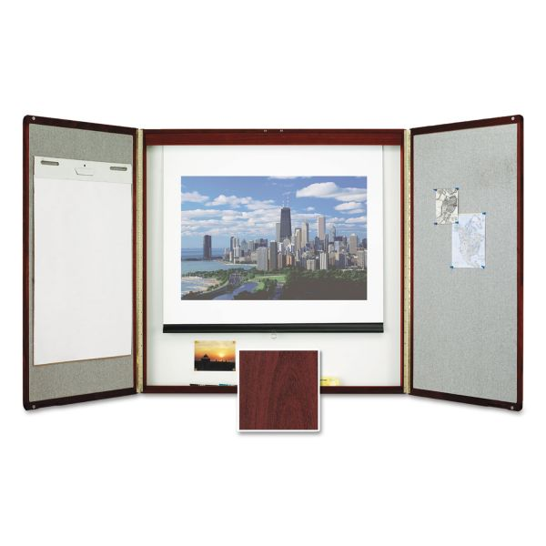 Quartet Marker Board Cabinet with Projection Screen, 48 x 48 x 24, White/Mahogany Frame
