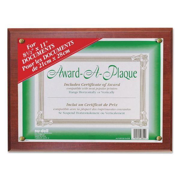 NuDell Award-A-Plaque Document Holder, Acrylic/Plastic, 10-1/2 x 13, Mahogany