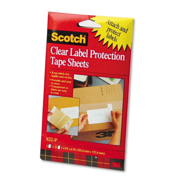 Scotch Heavyweight 4 x 6 Clear Label Protector Tape Sheets, Two 25 Sheet Pads/pack