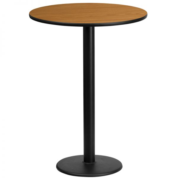 Flash Furniture 24'' Round Natural Laminate Table Top with 18'' Round Bar Height Table Base