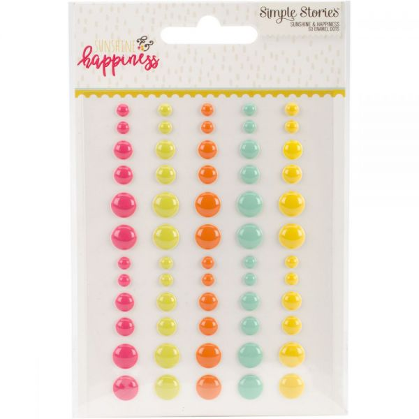 Sunshine & Happiness Enamel Dots Embellishments 60/Pkg