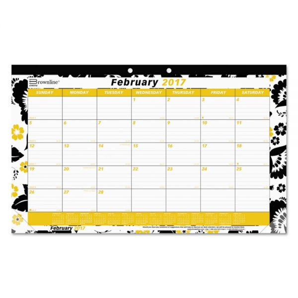 Blueline Monthly Fashion Desk Pad With Blossoms, 17-3/4 x 10-7/8, 2014