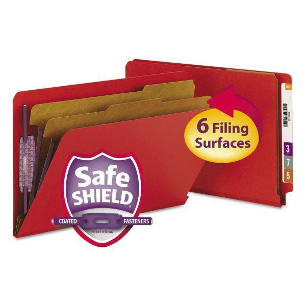 Smead Pressboard End Tab Folders, Legal, Six-Section, Bright Red, 10/Box