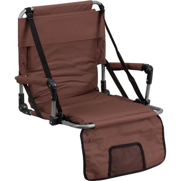 Flash Furniture Folding Stadium Chair in Brown