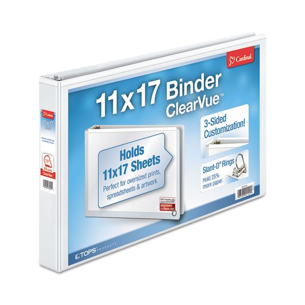 "Cardinal 11 x 17 ClearVue 3-Ring Binder, 1 1/2"" Capacity, Slant-D Ring, White"
