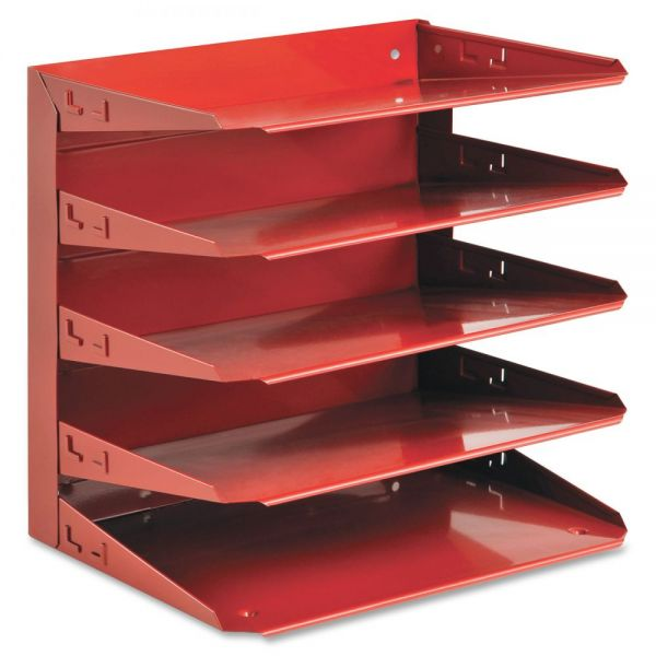 SteelMaster Soho Horizontal Organizer, Letter, Five Tier, Steel, Red