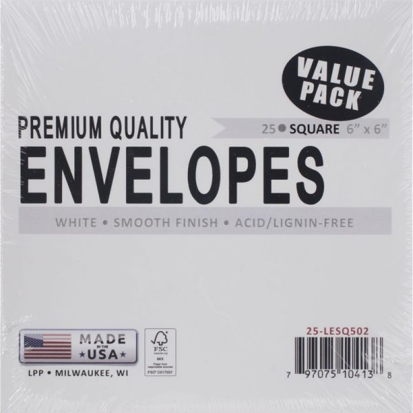"Leader Envelopes 6""X6"" 25/Pkg"