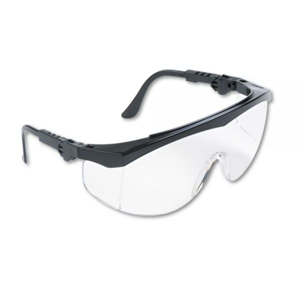 MCR Safety Tomahawk Wraparound Safety Glasses, Black Nylon Frame, Clear Lens, 12/Box