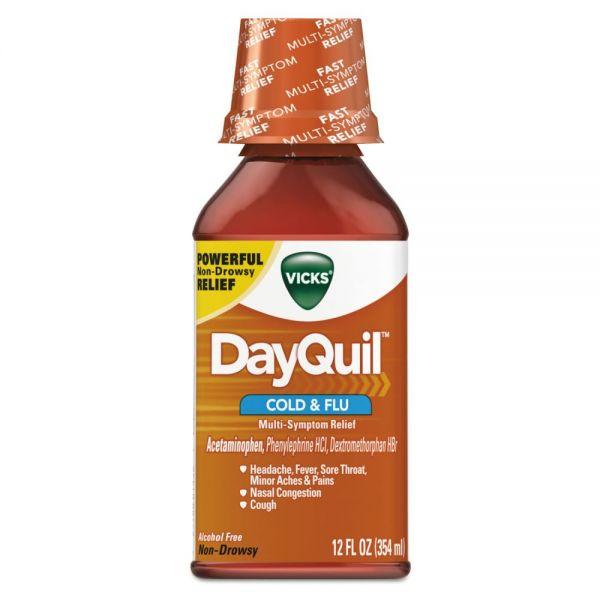 Vicks DayQuil Cold & Flu Liquid, 12 oz Bottle, 12/Carton
