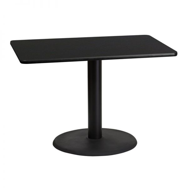 Flash Furniture 30'' x 42'' Rectangular Black Laminate Table Top with 24'' Round Table Height Base
