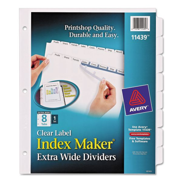 Avery Print & Apply Clear Label Dividers, 8-Tab, White Tab, Letter, 1 Set