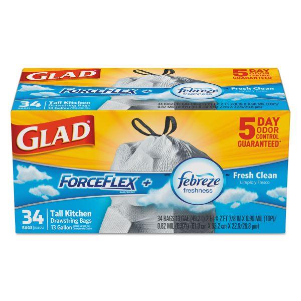 Glad ForceFlex OdorShield Bags, Fresh Clean, 13gal, White, 34/Box, 6 Boxes/Carton