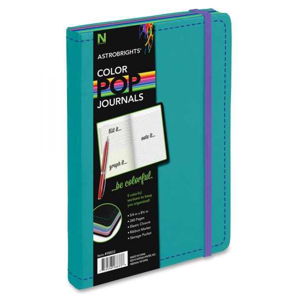 Astrobrights ColorPop Journal, College Ruled, 8 1/4 x 5 1/8, Teal, 240 Sheets