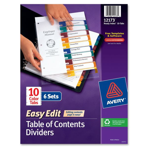 Avery Ready Index Customizable Table of Contents Dividers, 10-Tab, Multi-color Tab, Letter, 6 Sets
