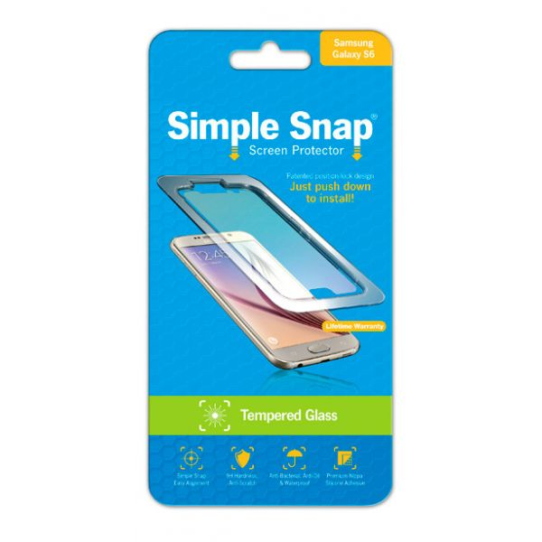 ReVamp Simple Snap Screen Protector (Samsung Galaxy S6) (Tempered Glass) Transparent