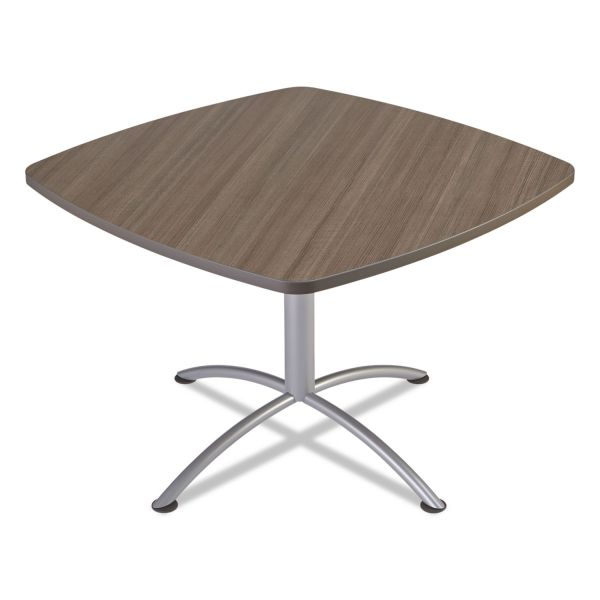 "Iceberg iLand Table, Contour, Square Seated Style, 42"" x 42"" x 29"", Natural Teak/Silver"